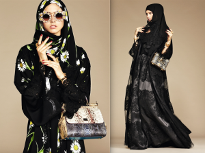 Oversized floral prints and rich lace abayas by Dolce & Gabbana